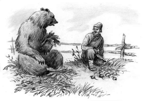 Мужик и медведь — Ушинский Константин