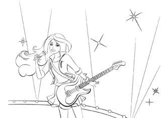 Раскраска Барби поет на сцене