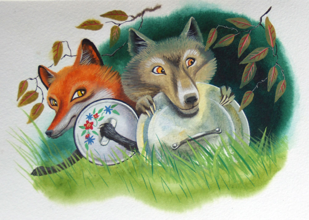 Картинки из басни лисица и волк